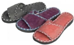 36 Units of Women's Faux Suede Slide Slippers w/ Plaid Trim - Women's Slippers