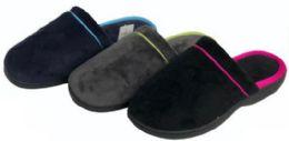 36 Units of Women's Faux Suede Mule Slippers w/ Contrast Trim - Women's Slippers