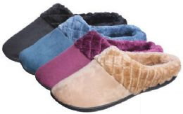 30 Units of Women's Faux Suede Clog Slippers w/ Quilted Faux Fur Trim - Women's Slippers