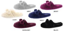 8 Units of Women's Faux Fur Pom Pom Slippers w/ Memory Foam Footbed - Women's Slippers