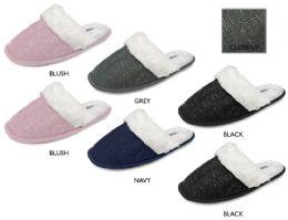 36 Units of Womens Knit Slippers w/ Lurex Detail, Sherpa Cuff & Lining - Women's Slippers