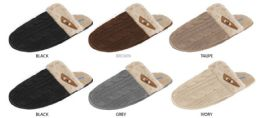 36 Units of Women's Cable Knit Slippers w/ Faux Fur Cuff & Wooden Toggle - Women's Slippers