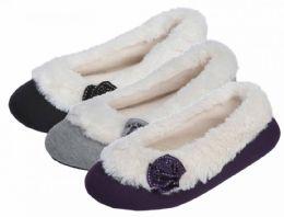 36 Units of Women's Fleece Booties w/ Flower Adornment - Women's Slippers