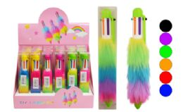 72 Units of Multi Color Retractable Pen Plush Pom Pom Neon - Pens