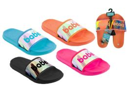 36 Units of Women's Slide Sandals w/ Holographic Babe Print - Women's Slippers
