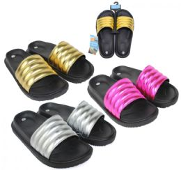 36 Units of Women's Black Moto Slide Sandals w/ Metallic Straps - Women's Slippers