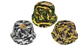 24 Units of Camo Bucket Hat - Bucket Hats