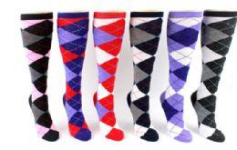 48 Units of Ladies Knee High Sock Argyle - Womens Knee Highs