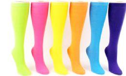 48 Units of Ladies Knee High Sock Neon Solid - Womens Knee Highs