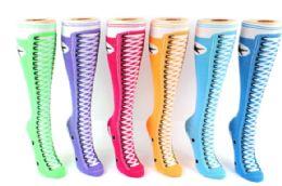 48 Units of Ladies Knee High Sock Sneaker Pattern - Womens Knee Highs