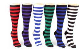 48 Units of Ladies Knee High Sock Stripe Pattern - Womens Knee Highs