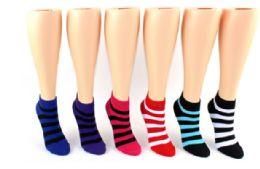 72 Units of Ladies Low Cut Sock Stripes Print - Womens Ankle Sock