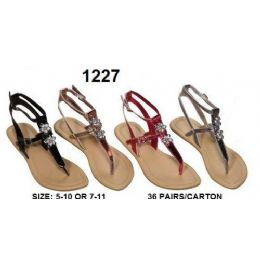 36 Units of Ladies Sandals With Rhine Stone Design - Women's Sandals