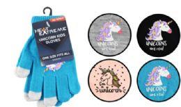 72 Units of Kids Stretch Gloves Unicorn - Knitted Stretch Gloves