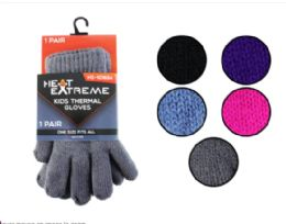 35 Units of Kids Thermal Gloves - Knitted Stretch Gloves