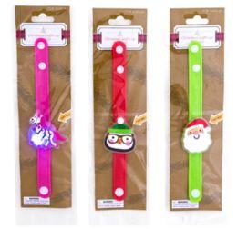 72 Units of Christmas Light Up Silicone Bracelet - Christmas Novelties