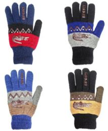 48 Units of Glove Mix Colors Men Gloves - Knitted Stretch Gloves