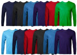 36 Units of Mens Cotton Long Sleeve Tee Shirt Assorted Colors Size Small - Mens T-Shirts
