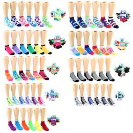 120 Units of Boy's & Girl's Low Cut Novelty Socks - Assorted Prints - Size 4-6 - Boys Ankle Sock