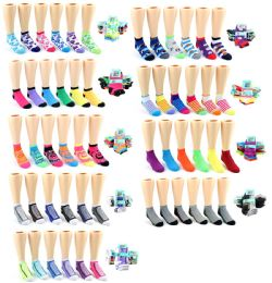 120 Units of Boy's & Girl's Toddler Low Cut Novelty Socks - Assorted Prints - Size 2-4 - Girls Socks & Tights