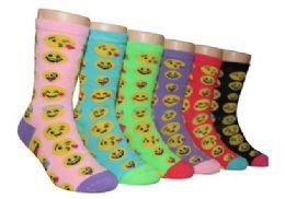480 Units of Girl's Novelty Crew Socks Emoji Prints - Girls Socks & Tights