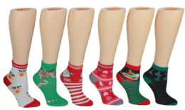 24 Units of Boy's & Girl's Christmas Crew Socks - Size 6-8 - Boys Ankle Sock
