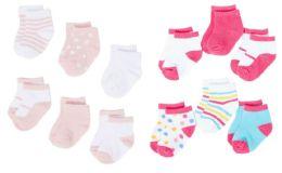 432 Units of Girl's Knit Graphic Baby Socks - Girls Socks & Tights