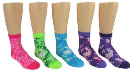 24 Units of Boy's & Girl's Novelty Crew Socks - Tie Dye - Size 6-8 - Girls Socks & Tights
