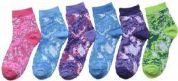 24 Units of Boy's & Girl's Novelty Crew Socks - Tie Dye - Size 4-6 - Girls Socks & Tights