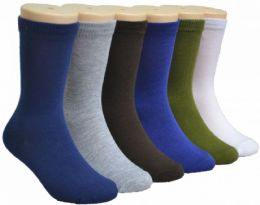 480 Units of Boy's & Girl's Novelty Crew Socks - Solid Colors - Size 6-8 - Girls Socks & Tights