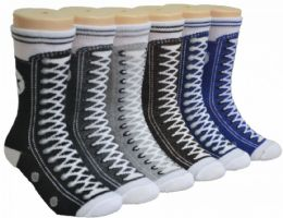 480 Units of Boy's & Girl's Novelty Crew Socks - Sneaker Print - Size 6-8 - Girls Socks & Tights