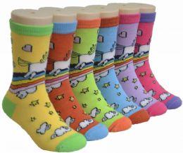 480 Units of Boy's & Girl's Novelty Crew Socks - Pony Print - Size 6-8 - Girls Socks & Tights