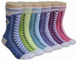 480 Units of Boy's & Girl's Novelty Crew Socks - Colorful Sneaker Print - Size 6-8 - Girls Socks & Tights