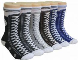 480 Units of Boy's & Girl's Novelty Crew Socks Sneaker Print - Girls Socks & Tights