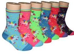 480 Units of Toddler's Novelty Crew Socks Unicorn Prints - Girls Socks & Tights