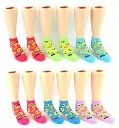 24 Units of Boy's & Girl's Low Cut Novelty Socks - Emoji Prints - Size 6-8 - Girls Socks & Tights