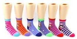 24 Units of Boy's & Girl's Toddler Novelty Crew Socks - Monkey Prints - Size 2-4 - Girls Socks & Tights
