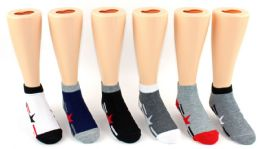 24 Units of Boy's & Girl's Toddler Novelty Low Cut Socks - Star & Stripe Print - Size 2-4 - Girls Socks & Tights