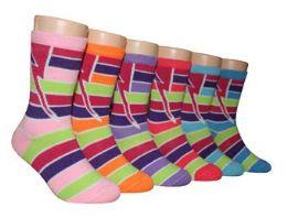 480 Units of Boy's & Girl's Novelty Crew Socks - Striped Prints - Size 6-8 - Girls Socks & Tights