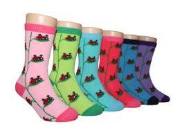 480 Units of Boy's & Girl's Novelty Crew Socks - Lady Bug - Size 6-8 - Girls Socks & Tights