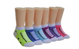 480 Units of Girl's Novelty Low Cut Socks Sneaker Print - Girls Socks & Tights