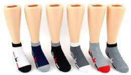 24 Units of Boy's & Girl's Novelty Low Cut Socks - Star & Stripe Print - Size 4-6 - Girls Socks & Tights