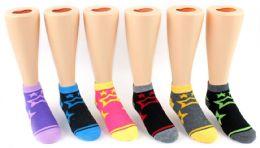 24 Units of Boy's & Girl's Novelty Low Cut Socks - Star Print - Size 4-6 - Girls Socks & Tights
