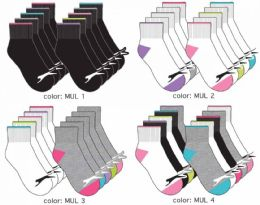 120 Units of Girl's Athletic Ankle Socks - Solid Colors Size 6-8 - Girls Socks & Tights