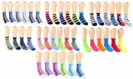 120 Units of Boy's & Girl's Novelty Crew Socks - Assorted Prints - Size 4-6 - Girls Socks & Tights