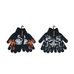 72 Units of Printed Stretch Gloves - Knitted Stretch Gloves