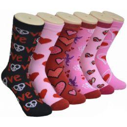 360 Units of Women's Love Print Crew Socks - Womens Crew Sock