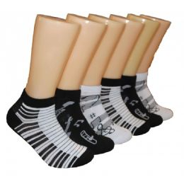 480 Units of Ladies Lowcut Socks Musical Note Print - Womens Crew Sock