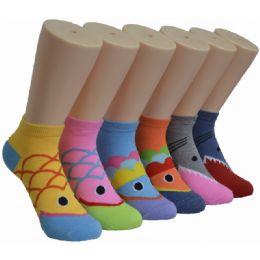 480 Units of Ladies Lowcut Socks Sea Animal Print - Womens Crew Sock