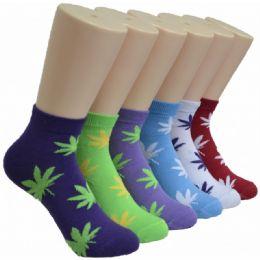 480 Units of Ladies Lowcut Socks Leaf Print - Womens Crew Sock